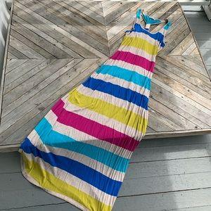 Calvin Klein striped racer back maxi dress